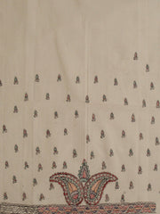 Madhubani Painted Off-White Yarn Dyed Handwoven Cotton Fabric
