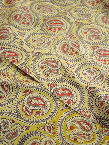 Natural Dye yellow paisley Handwoven Silk Fabric