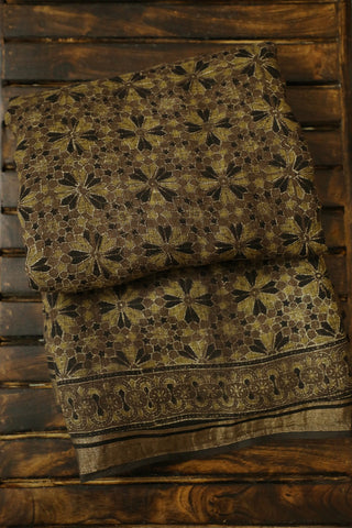Greyish Brown with Yellow Ajrak Linen Saree