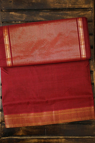 Subdued Maroon with Traditional Border Mangalagiri Cotton Saree