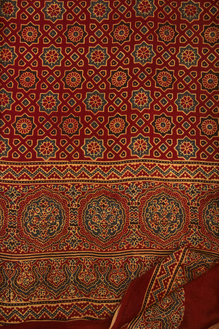Maroon with Black Ajrak Modal Silk Saree