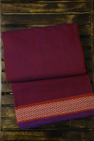 Double Shade Maroonish Violet Handwoven Cotton Saree