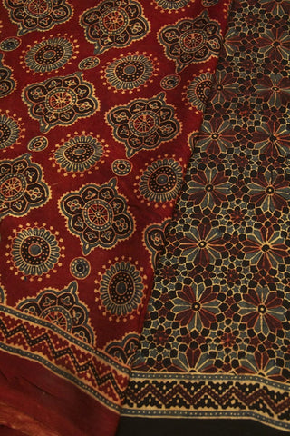Maroon with Black Flower Ajrak Modal Silk Saree