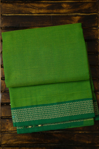 Green with Yellow Handwoven Cotton Saree