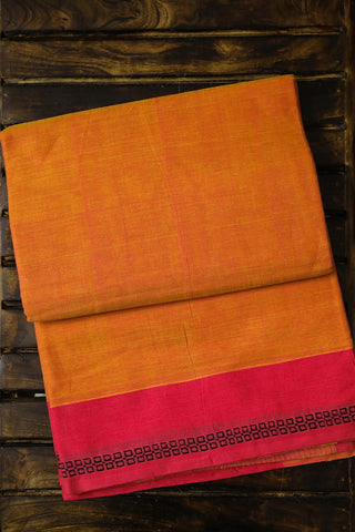 Orange with Pink and Yellow Handwoven Cotton Saree