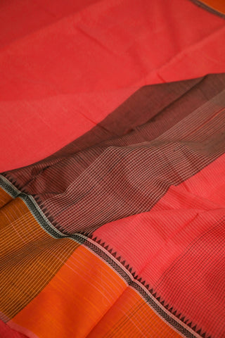 Pinkish Peach with Sripes Handwoven Cotton Saree