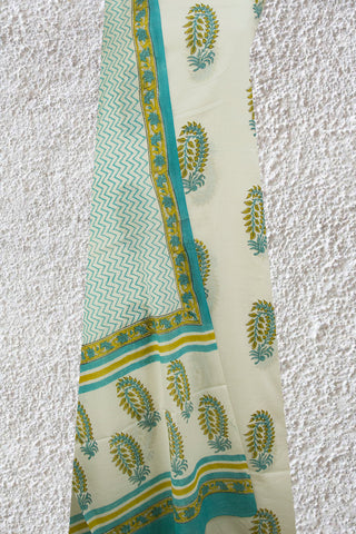 White with Sky Blue Bagru Block Printed Full Suit