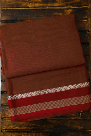Brownish Maroon Handwoven Cotton Saree