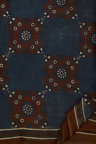 Greyish Indigo with Maroon Boxes Ajrak Modal Silk Saree