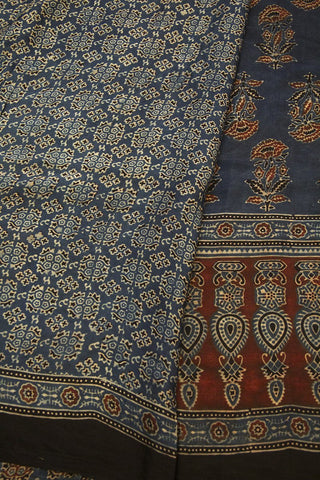 Indigo with Maroon Flower Ajrak Modal Silk Saree