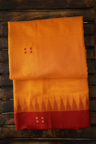 Yellow with Maroon Temple Border Handwoven Saree