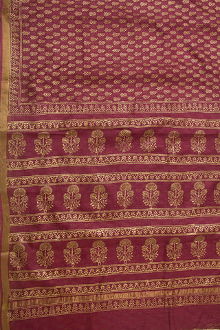 Dark Purple with Golden Prints Block Printed Kota Silk Sarees