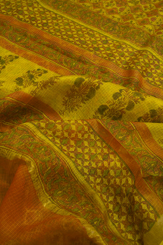Brown with Yellow Block Printed Kota Silk Sarees