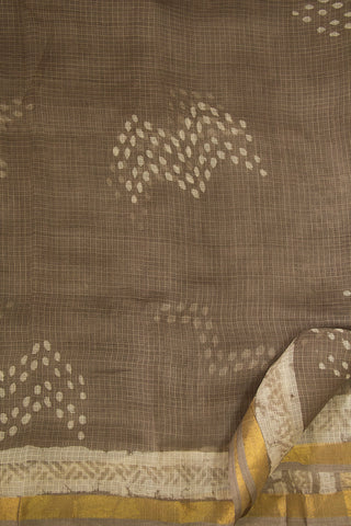Grey Block Printed Kota Silk Sarees