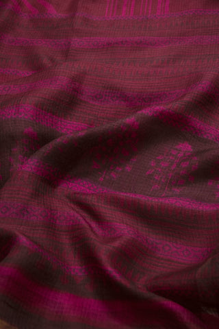 Purple with Maroon Block Printed Kota Silk Sarees