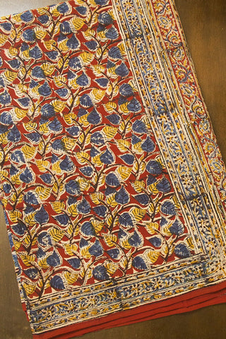 Maroon with Indigo Peepal Leaves Hand Printed Kalamkari Saree