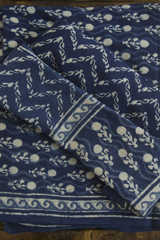 Floral Indigo Block Printed Full Suit