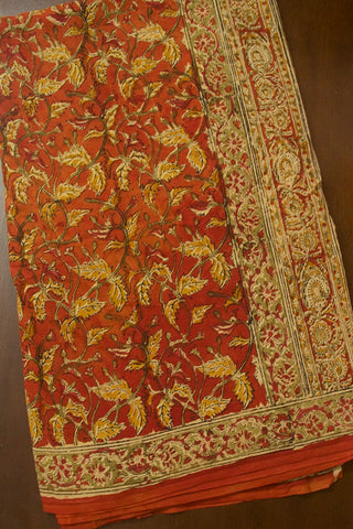 Rust Red with Fenugreek Leaves Hand Printed Kalamkari Saree