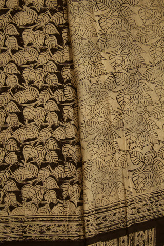 Black with Beige Peepal Leaves Hand Printed Kalamkari Saree