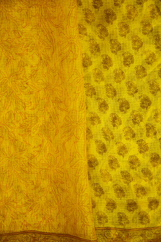 Yellow Block Printed Kota Silk Sarees