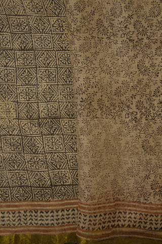 Beige with Black Block Printed Kota Silk Sarees