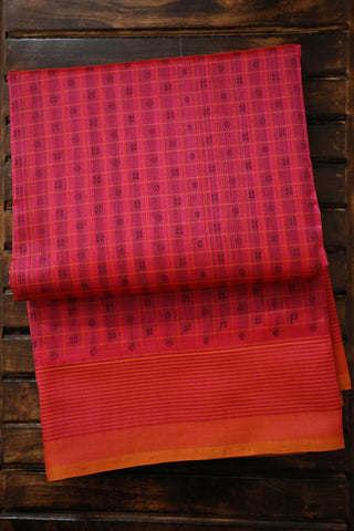 Double Shade Pink with Small Checks Kanchi Silk Cotton Saree