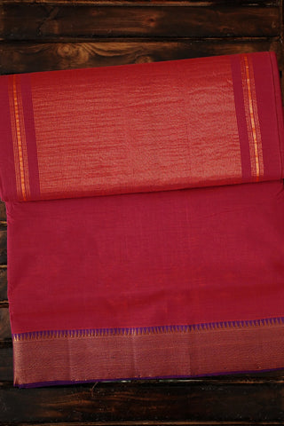 Pinkish Peach Mangalagiri Cotton Saree