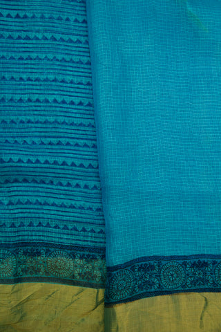 Ramar Blue Small Triangle Block Printed Kota Silk Sarees