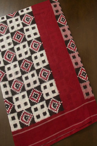 Maroon with Black Telia Rumal Handwoven Ikat Cotton Saree