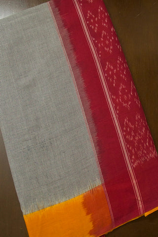 Grey with Mango Yellow Handwoven Ikat Cotton Saree