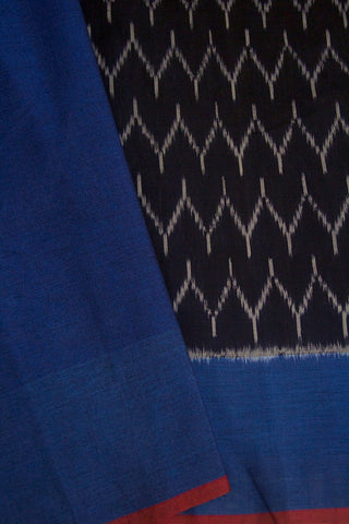 Black with Blue Handwoven Ikat Cotton Saree