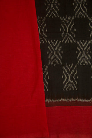 Black with Red Handwoven Ikat Cotton Saree
