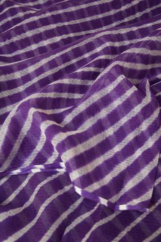 Dark Lavender with White Lines Leheriya Saree