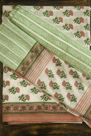 Peach with Green Sanganeri Block Printed Full Suit