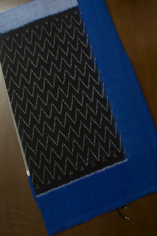 Blue with Black Zig Zag Handwoven Ikat Cotton Saree