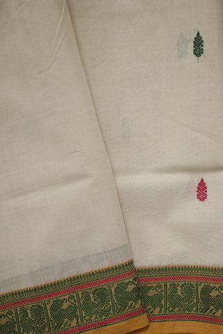 Offwhite traditional border Handwoven Kanchi Cotton saree