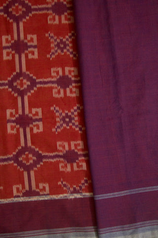 Purple with Rust Red Handwoven Ikat Cotton Saree