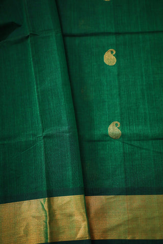 Paisleys in Green Handwoven kanchi Cotton Saree