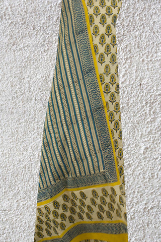 Yellow Leaf Bagru Block Printed Full Suit