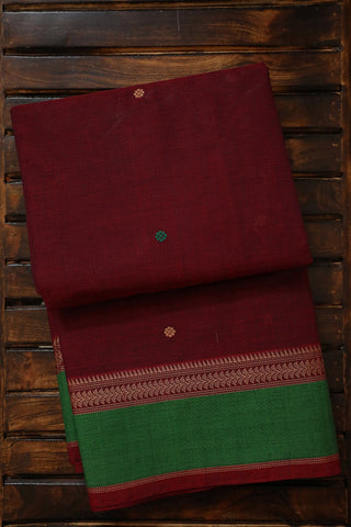 Maroon with Green Border Traditional Kanchi Cotton Saree