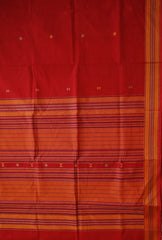 Red with yellow Urmul Inspired Handwoven Kanchi Cotton Saree