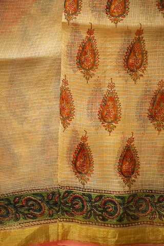 Beige with Orange Block Printed Kota Silk Saree