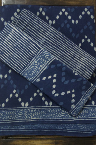 Indigo with Off White Zig Zag Bagru Block Printed Full Suit