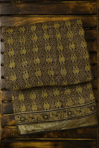 Olive Green with Black Ajrak Linen Saree