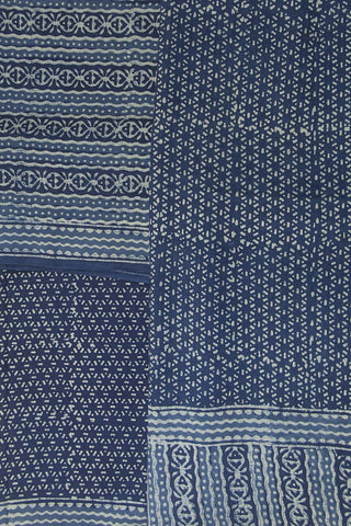 Indigo Lines Bagru Block Printed Full Suit