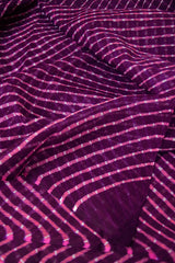 Dark Purple with Pink and White Lines Leheriya Saree