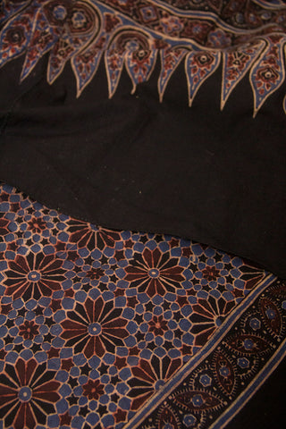 Black with Brown and Indigo Fish Scale Border Ajrak Cotton Stole