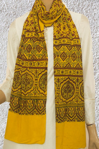 Yellow with Brown Ajrak Cotton Stole