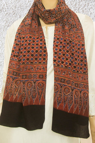 Rust Red with Indigo Big Flower Ajrak Cotton Stole