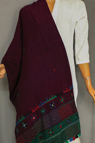 Blackish Maroon Embroidered Lambani Cotton Stoles